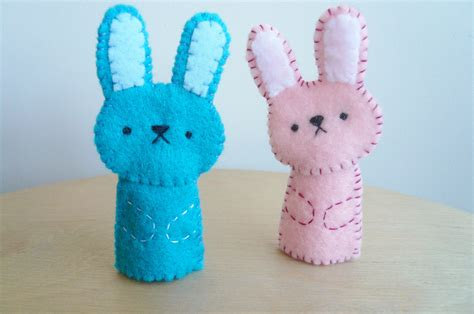 Handmade Finger Puppets - handmade finger puppets pink bunny and blue bunny on luulla