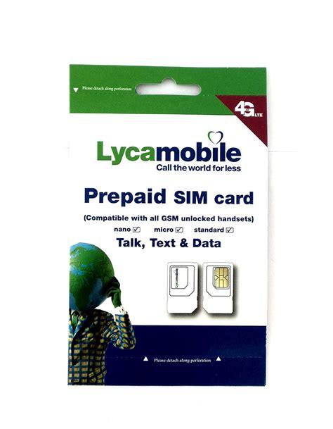 lyca mobile usa lycamobile mobile 3 in 1 sim card standard micro nano used