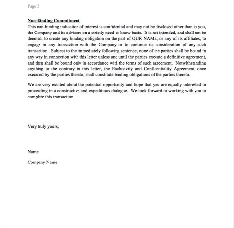letter intent template loi template cfi