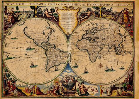 Ancient Explorer Map Vintage World - ancient world maps world map 17th century