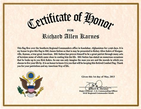 Military Flag Certificate Template Templates Station Flag Certificate Template