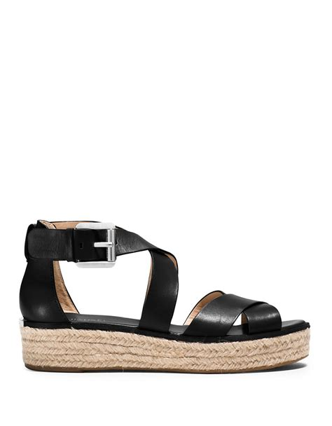 michael michael kors sandals michael michael kors darby leather sandals in black lyst