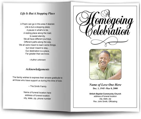 celebration of program template simple funeral program templates black white memorial