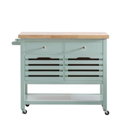 4 drawer kitchen cart sunjoy new jaden aqua body with wood top kitchen cart with