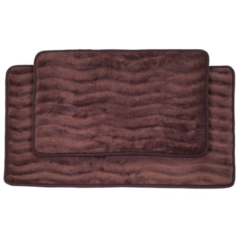 memory foam bathroom rug set lavish home 2 piece chocolate memory foam bath mat set 67