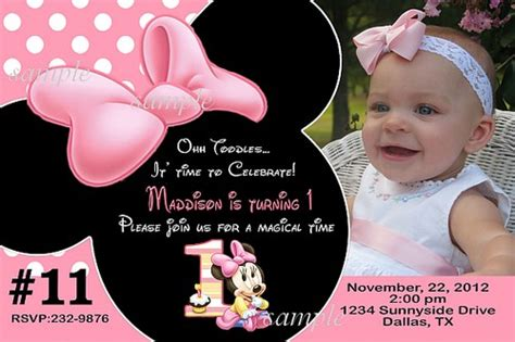 baby minnie mouse birthday invitations 20 printed baby minnie mouse birthday