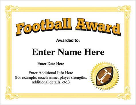 free football certificate templates football award certificate template recognition
