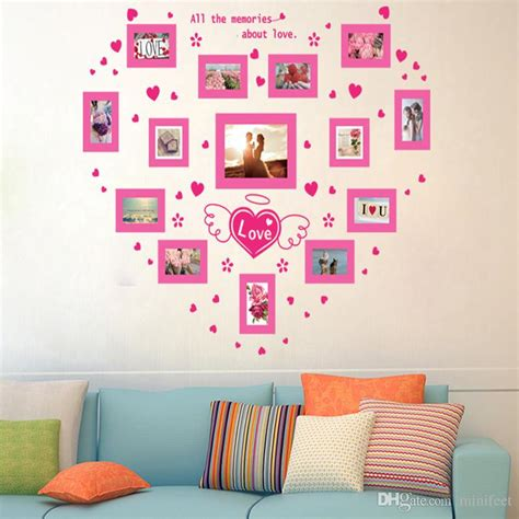 heart wall stickers for bedrooms geckoo wall decor photo frame family tree wall decals