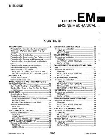 automotive service manuals 1994 nissan maxima engine control service manual all car manuals free 2005 nissan maxima engine control service manual 2005