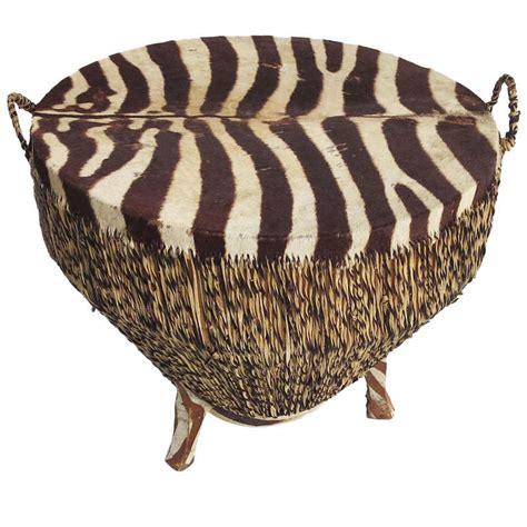 Zebra Side Table Zebra Skin Drum Occasional Or Coffee Table