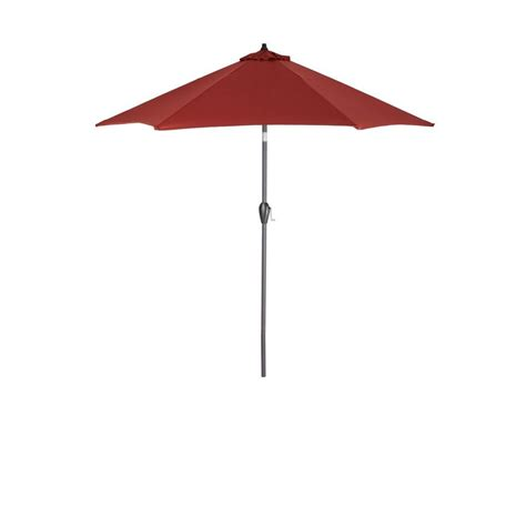 Patio Sun Umbrellas Hton Bay 9 Ft Aluminum Patio Umbrella In Chili 9900 01004011 The Home Depot