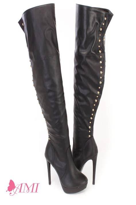 black studded thigh high heel boots faux leather