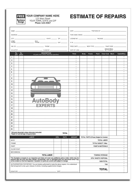 auto estimate template estimate form template and auto repair estimate