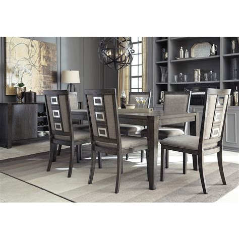 Dining Set 6 Chairs Chadoni 7 Dining Set Table With 6 Side Chairs Bernie Phyl S Furniture By