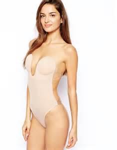 fashion forms u plunge backless strapless bodysuit beige