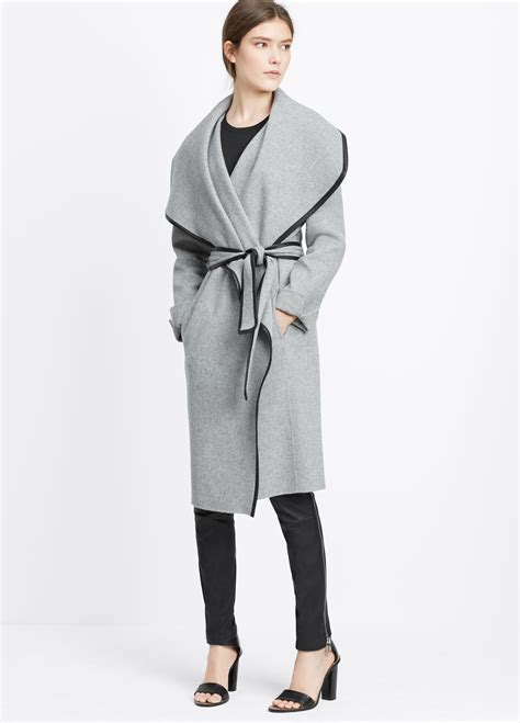 drape coat vince drape front belted coat with leather trim in gray