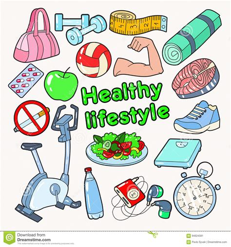 doodle lifestyle healthy lifestyle sport doodle with food and vitamins