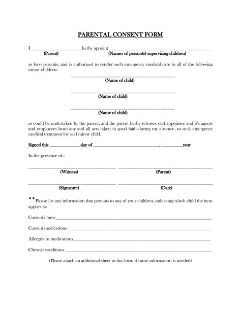 parental consent form template travel printable parent consent forms memes