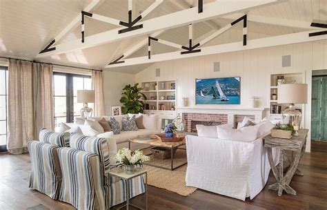 cottage living room  white truss ceiling cottage