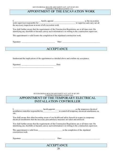 health safety appointment letter template health and safety plan generic