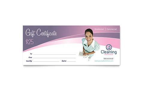 House Cleaning & Maid Services Gift Certificate Template