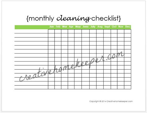 Monthly Cleaning Checklist Free Printable Creative Home Keeper Monthly Cleaning Schedule Template Excel