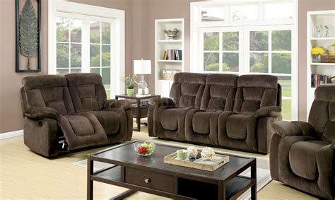 Bloomington Upholstery by Bloomington Cm6129br Reclining Sofa In Brown Fabric W Options