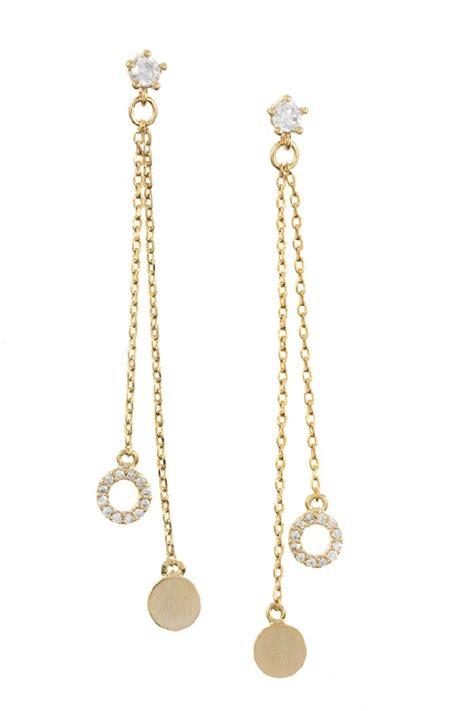 Cz Drop Earring cz tip drop chain dangle earring