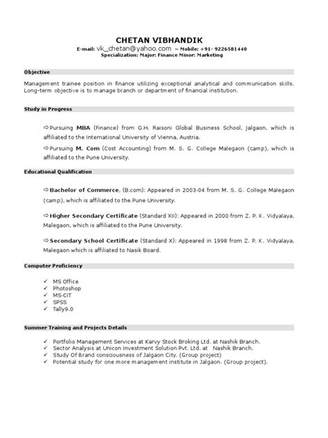 How To List Part Time Mba On Resume by New Resume Format For Mba Student By Chetan Vibhandik