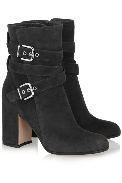 gianvito suede boots gianvito buckled suede ankle boots in gray lyst