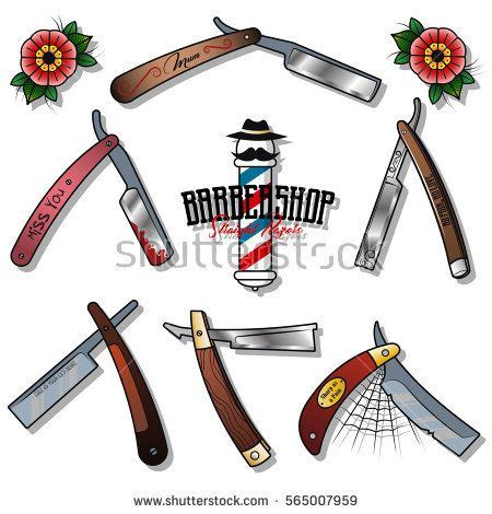 straight razor tattoo designs vector razors set barbershop stickers traditional