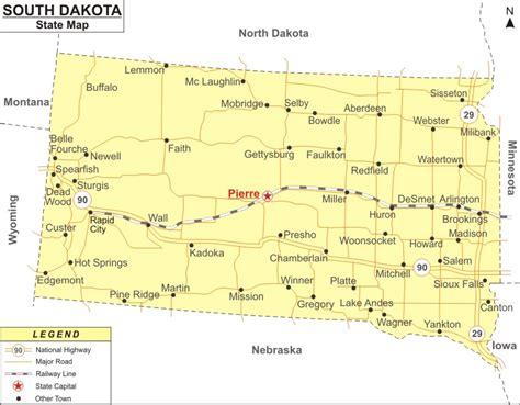 south dakota map map  south dakota state usa