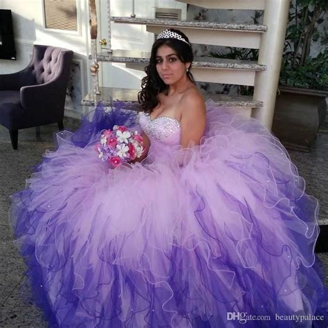 Fashion Ombre Quinceanera Dresses 2017 Bead Sequin