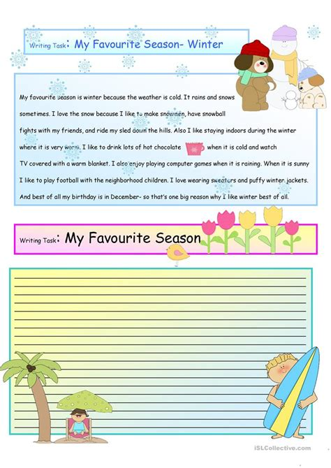 My Favorite Clothes Essay by Creative Writing My Favorite Season 14 A1 Level Worksheet Free Esl Printable Worksheets Made