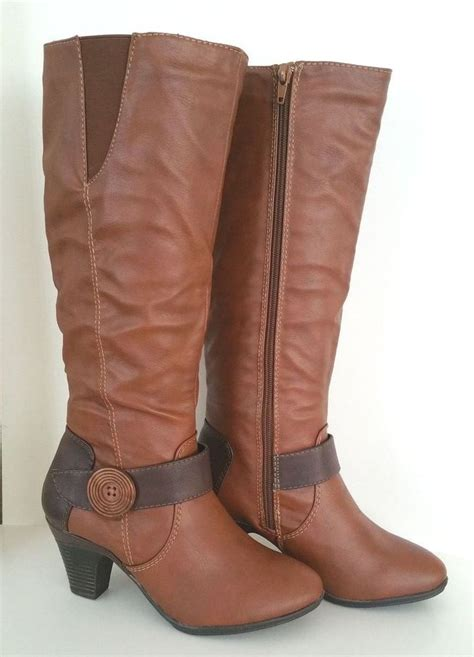 womans dress boots womens toe cognac brown med heel knee high casual