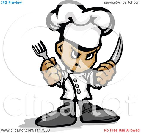 tattoo chef cartoon cartoon of a tough male chef guy holding a knife and fork