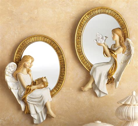 angels home decor set of 2 mirrored heavenly wall angels home bedroom wall