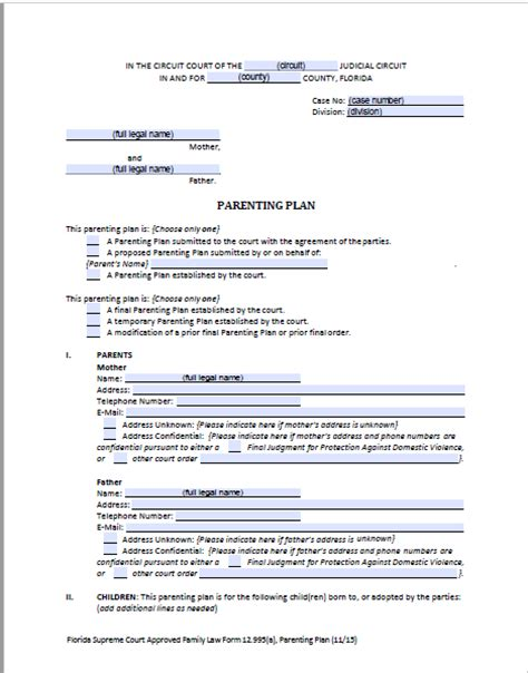 Florida Shared Parenting Plan Forms Instructions Divorce Parenting Plan Template