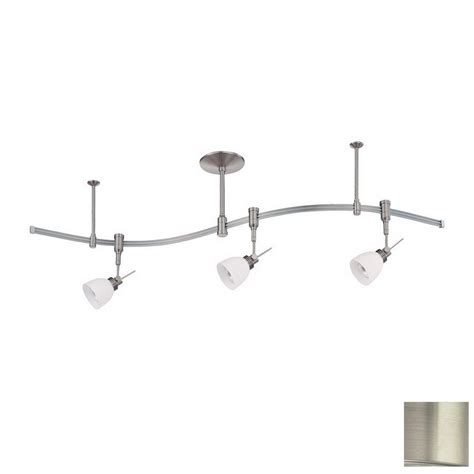 shop kendal lighting 3 light 48 in satin nickel flexible track light with opal white glass at