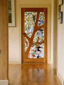 Custom stained glass door birds by janet redfield stained glass
