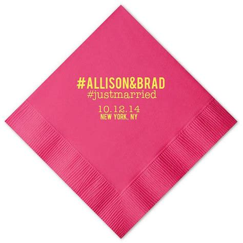 Wedding Anniversary Hashtags by Hashtag Beverage Napkins Foil Sted Personalized