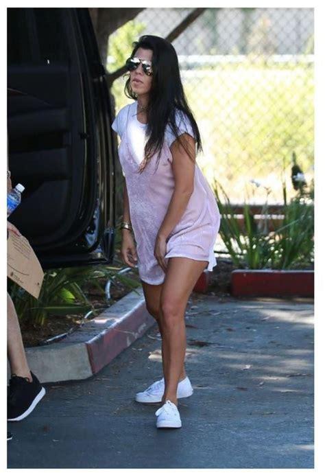 celebrity pink dress pants dress sneakers top kourtney kardashian summer dress