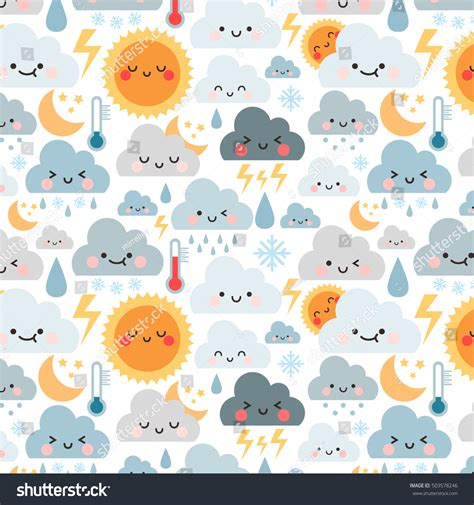 cute icon pattern cute cartoon pattern weather icons can stock vector