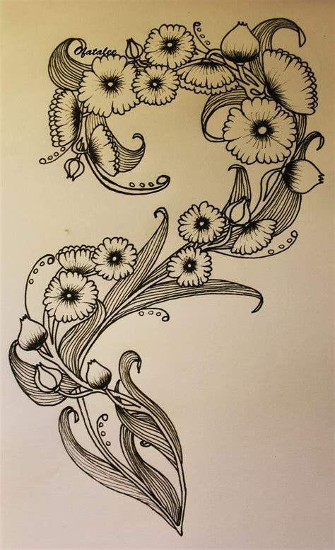 art deco tattoo design nouveau flower tattoos posts