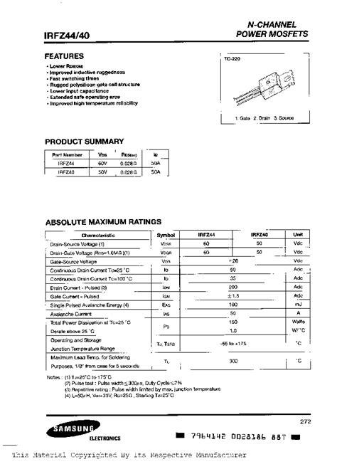 transistor irfz44 pdf irfz44 481400 pdf datasheet ic on line