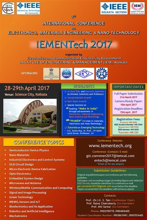 Iem Kolkata Mba Admission 2017 by Ieee Iementech 2017 Iem