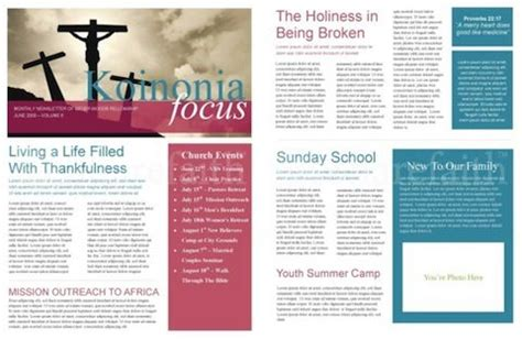 free church newsletter template print newsletter1
