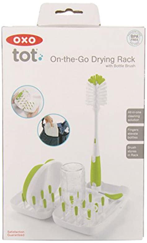 Oxo Tot On The Go Drying Rack Pengering Botol Bayi Portable oxo tot on the go travel drying rack with bottle brush green 885487775272 toolfanatic