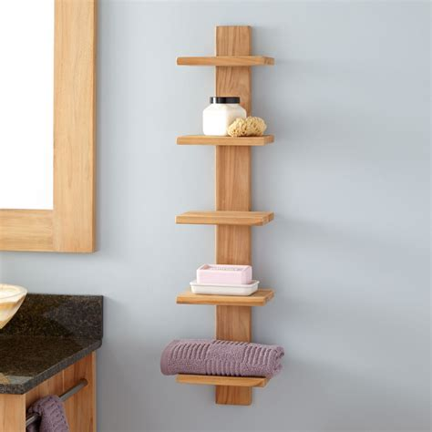 Bastian Hanging Bathroom Teak Shelf Five Shelves Bathroom Wooden Bathroom Shelving