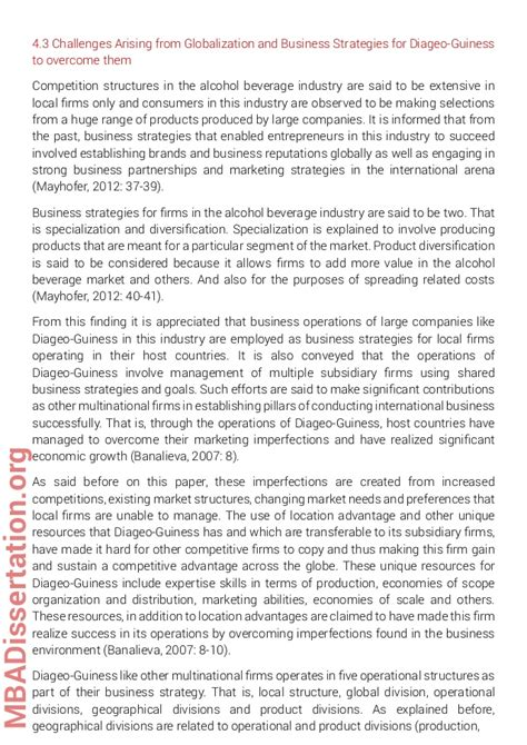 Mba Dissertation Format by Mba Dissertation Sle On Globalization